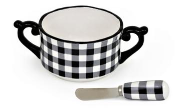 Image 1 of Black and White Check Dip Bowl & Spreader Set