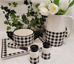 Black and White Check Dip Bowl & Spreader Set