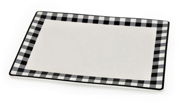 Image 1 of Black and White Check Small Serving Tray