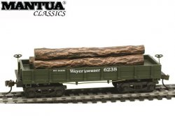 Mantua HO Wooden Vintage Freight Car 1860 Log Car Weyerhaeuser
