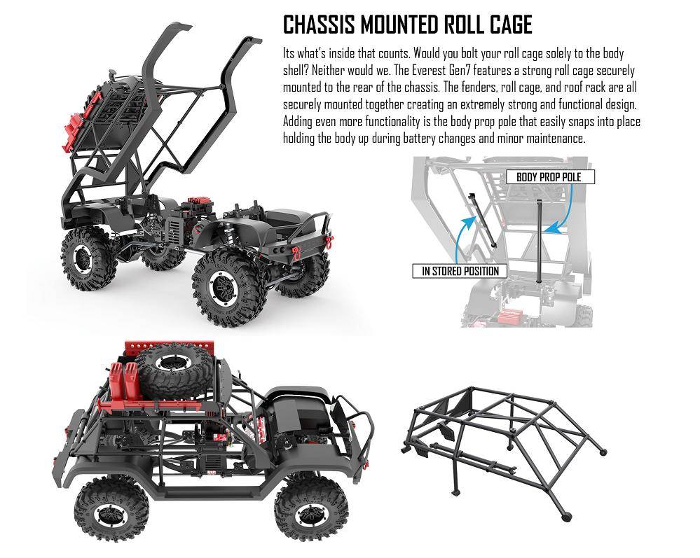 It's what's inside that counts. The Redcat Everest Gen7 features a strong roll cage securely mounted to the rear of the chassis.