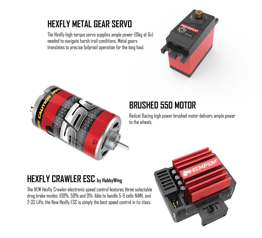 The Redcat Everest Gen7 Pro electronics have been well thought out, including a high power 550 brushed motor, 40A waterproof ESC and a Hexfly 15KG metal gear servo.
