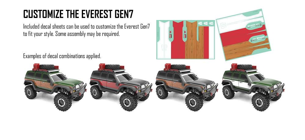 Included decal sheets can be used to customize the Redcat Everest Gen7 to fit your style.