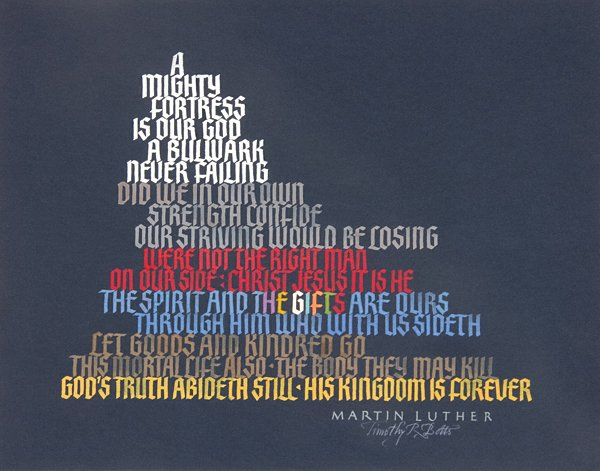 Hymn by Martin Luther - Calligraphy by Tim Botts