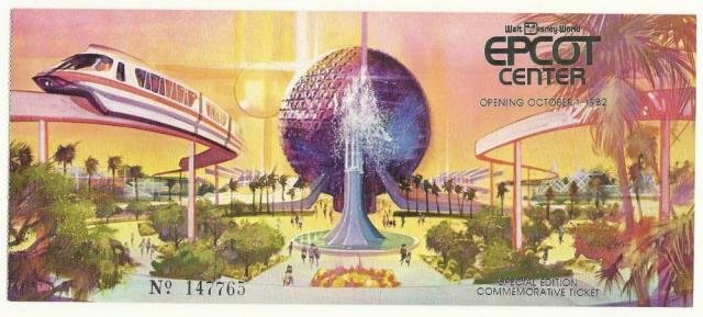 Image 0 of 1982 Walt Disney World Epcot Center Grand Opening Ticket Stub vintage RARE