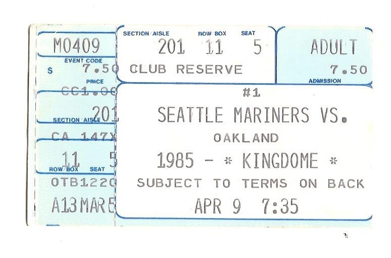 Image 0 of 1985 seattle Mariners Opening day ticket Stub Vs Oakland