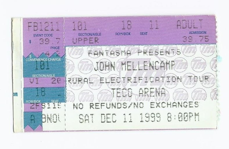 Image 0 of 1998 John Mellencamp Concert Ticket Stub December 11th Teco Arena Fort Myers Fl
