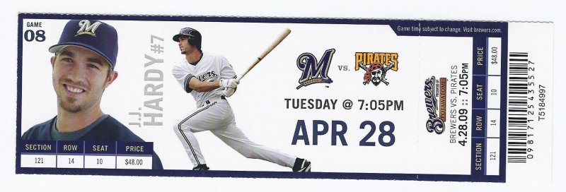 Image 0 of 2009 Pirates @ Brewers Full Unused Ticket April 28th Hoffman Save