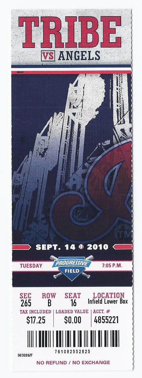 Image 0 of 2010 Angels @ Indians Full Unused Ticket September 14th Progressive Field