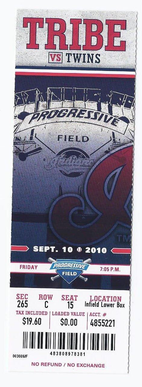Image 0 of 2010 Twins @ Indians Full Unused Ticket September 10th Progressive Field