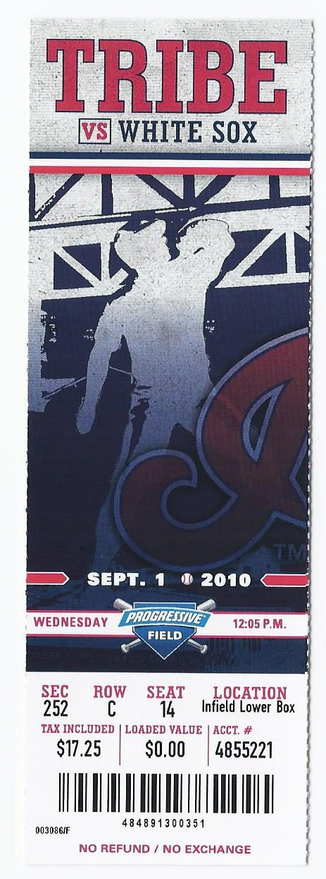 Image 0 of 2010 White Sox @ Indians Full Unused Ticket September 1st Progressive Field