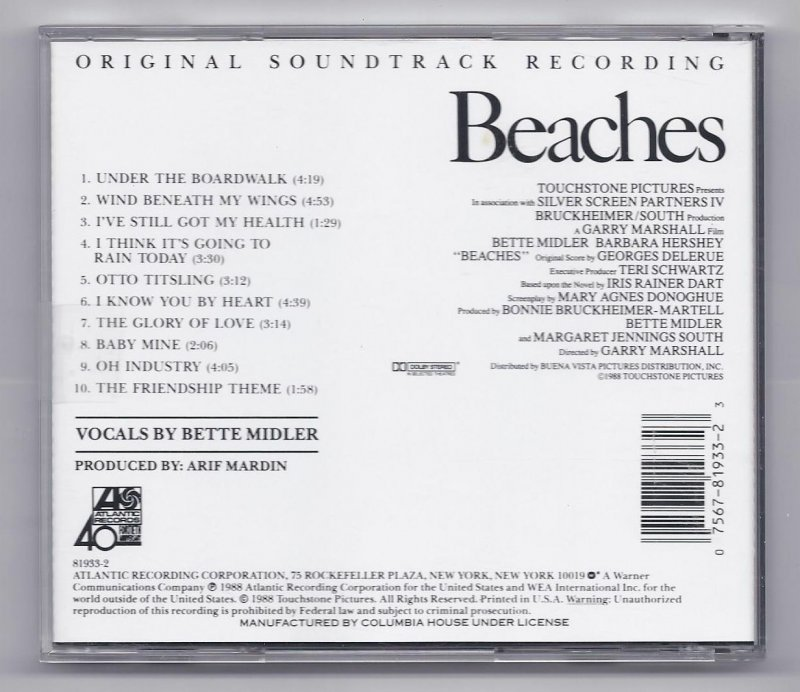 Image 1 of Beaches original motion picture soundtrack Music CD