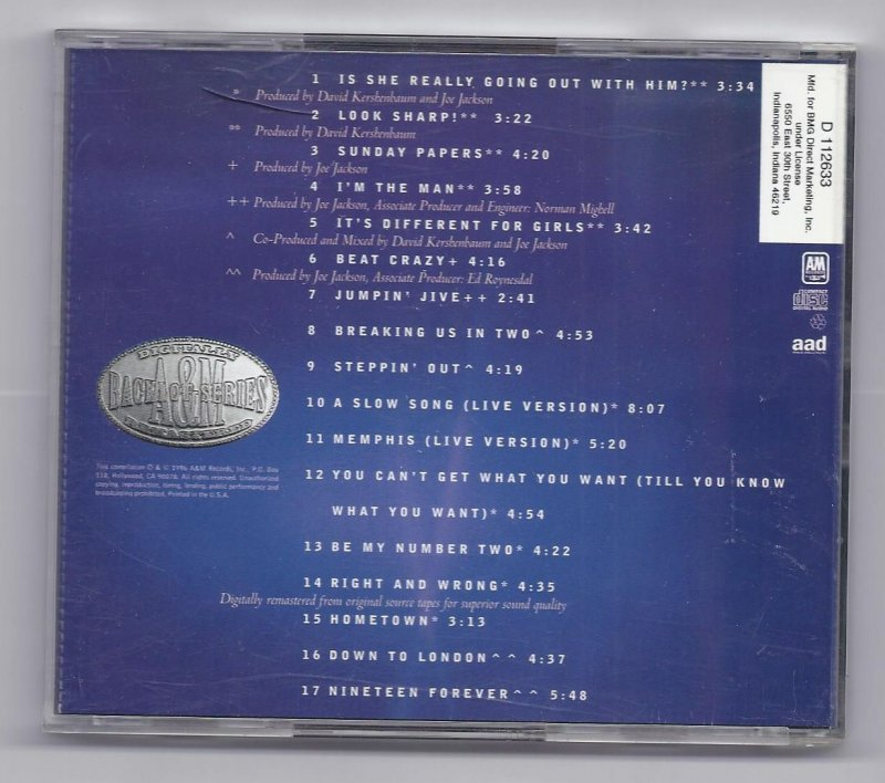 Image 1 of Joe Jackson Greatest Hits Music CD