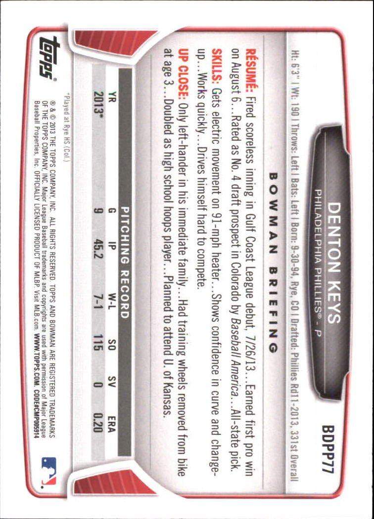 Image 1 of 2013 Bowman Draft Draft Picks #BDPP77 Denton Keys Card