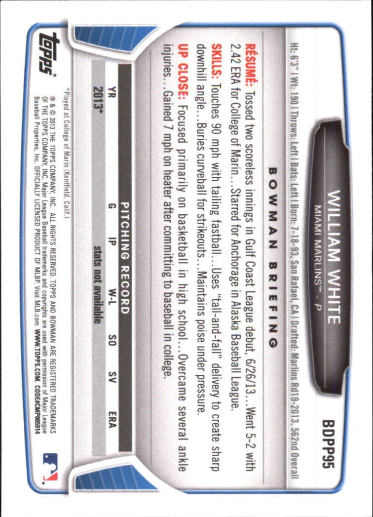 Image 1 of 2013 Bowman Draft Draft Picks #BDPP95 William White Card