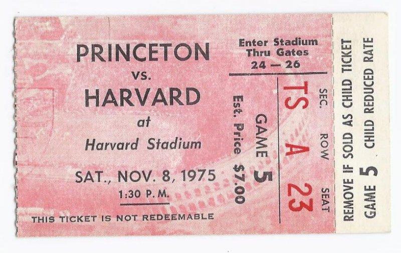 Image 0 of 1975 NCAA College Football Ticket Stub Princenton @ Harvard November 8th 9 8 75