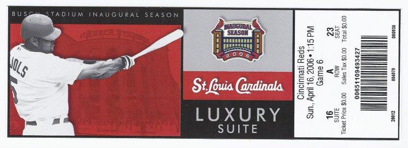 Image 0 of 2006 MLB Full Unused Luxury Suite ticket Reds @ Cardinals April 16th