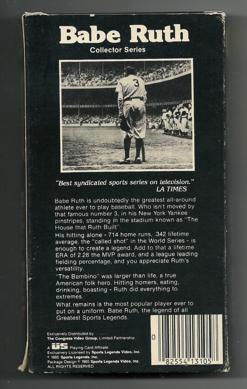 Image 1 of Greatest Sports Legends Babe Ruth VHS Video Tape