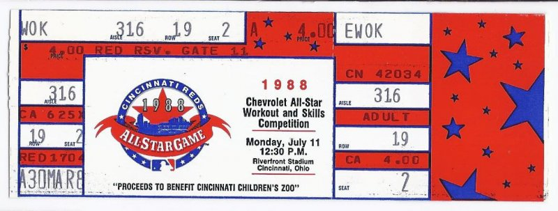 Image 0 of 1988 MLB baseball All Star Game Workout Day Home Run Derby Full Unused Ticket Ci