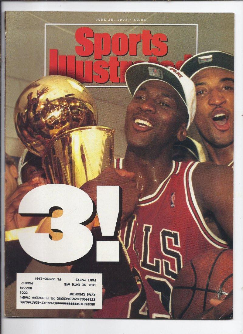 Image 0 of 1993 Sports Illustrated Magazine June 28th Bulls 3 in a row Champions Jordan