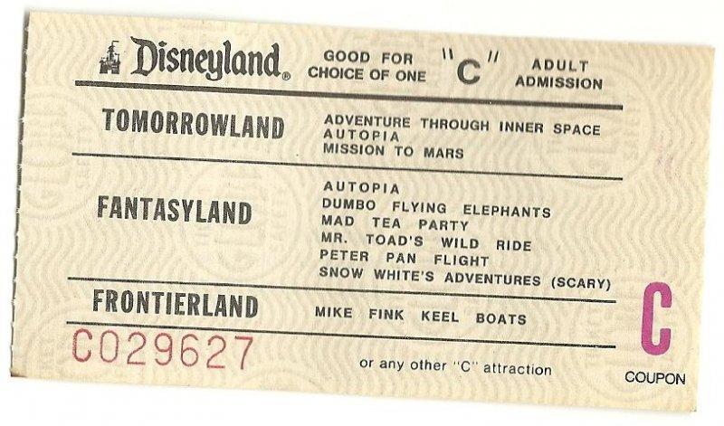 Image 0 of Vintage Disneyland Adult C attraction Used ticket Rare