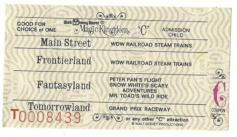 Image 0 of Vintage Walt Disney World Child C Attraction Used ticket Rare