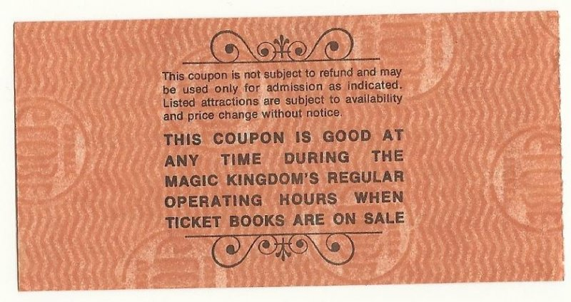 Image 1 of Vintage Walt Disney World Child B Attraction Used ticket Rare