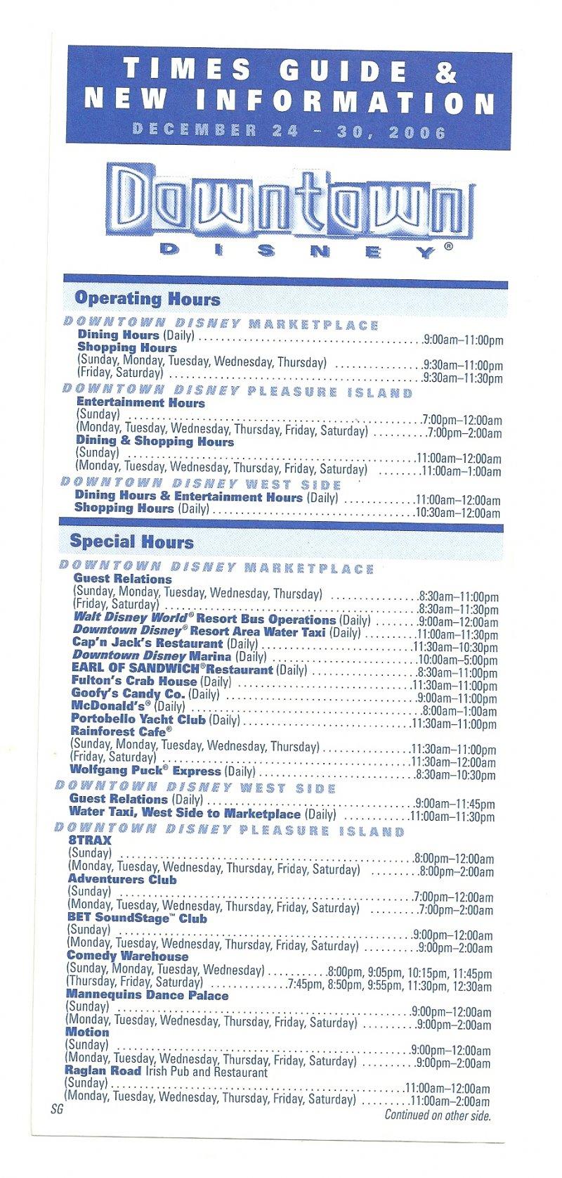 Image 0 of 2006 walt disney world Downtown Disney Times guide Flyer Dec 24-30