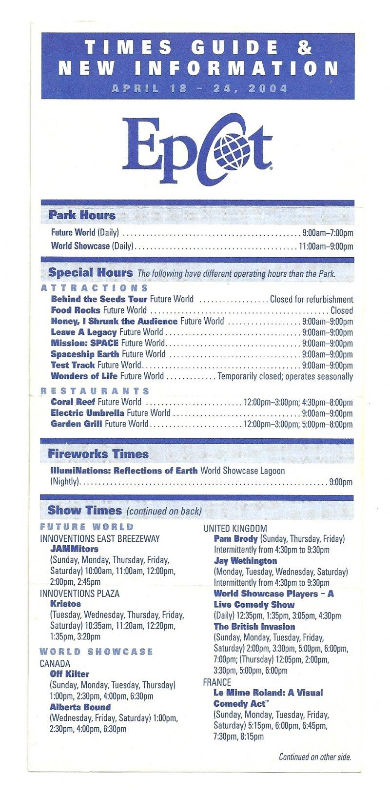 Image 0 of 2004 walt disney world Epcot Center Times guide Flyer April 18-24