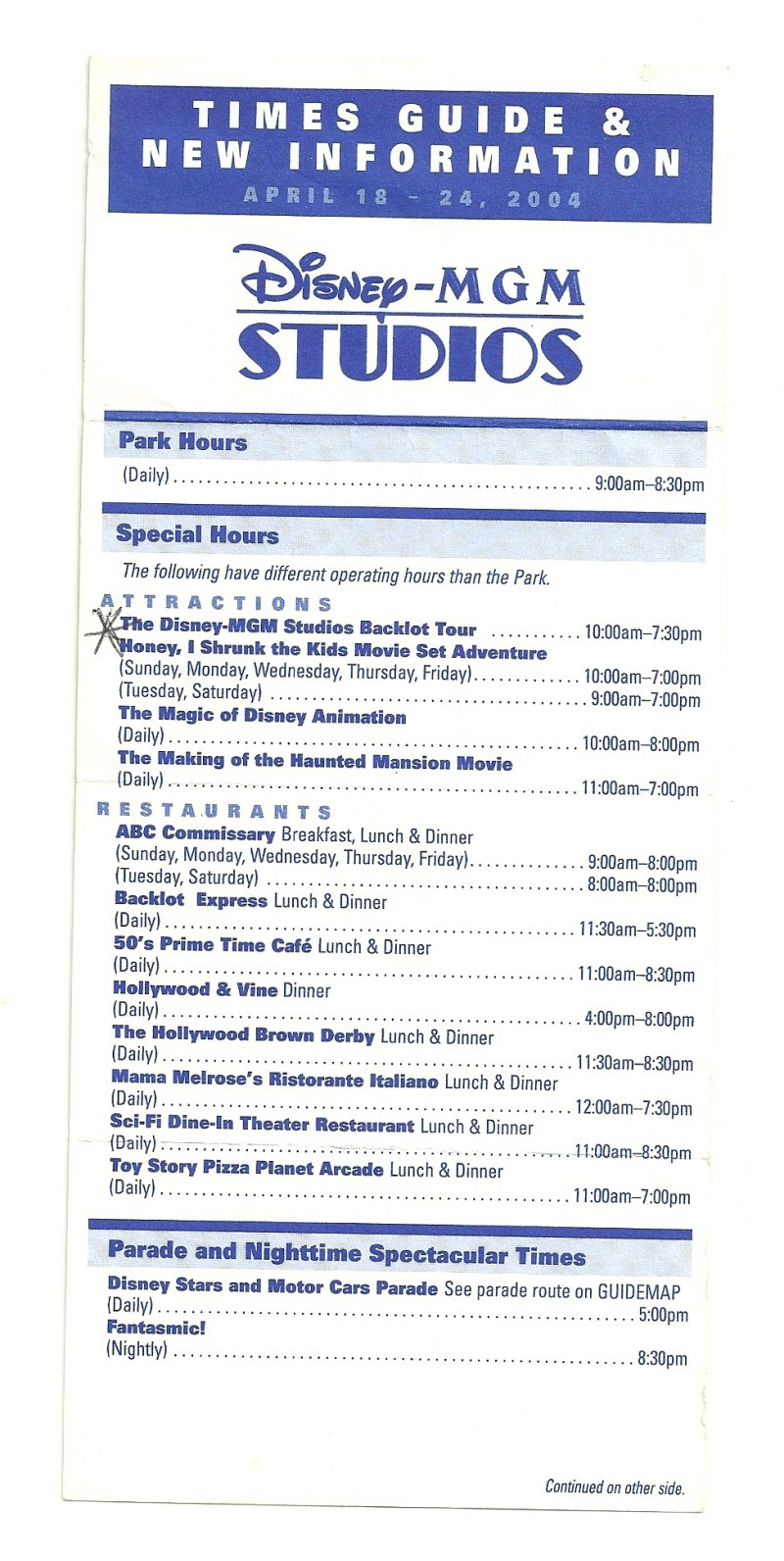Image 0 of 2004 walt disney world Disney MGM Studios Times guide Flyer April 18-24