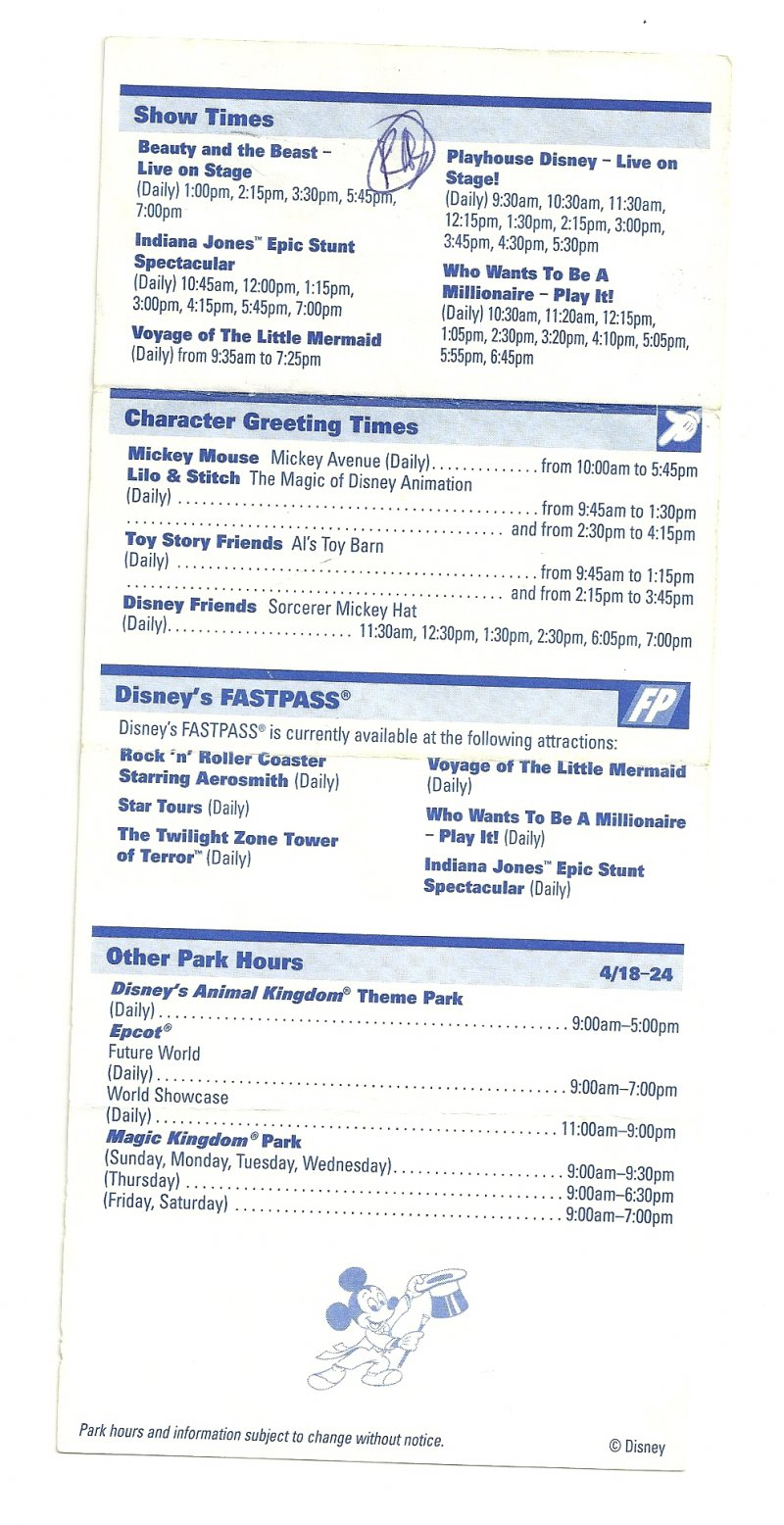 Image 1 of 2004 walt disney world Disney MGM Studios Times guide Flyer April 18-24