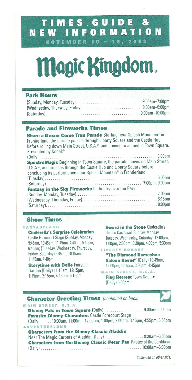Image 0 of 2002 walt disney world Magic Kingdom Times guide Flyer Nov 10-16
