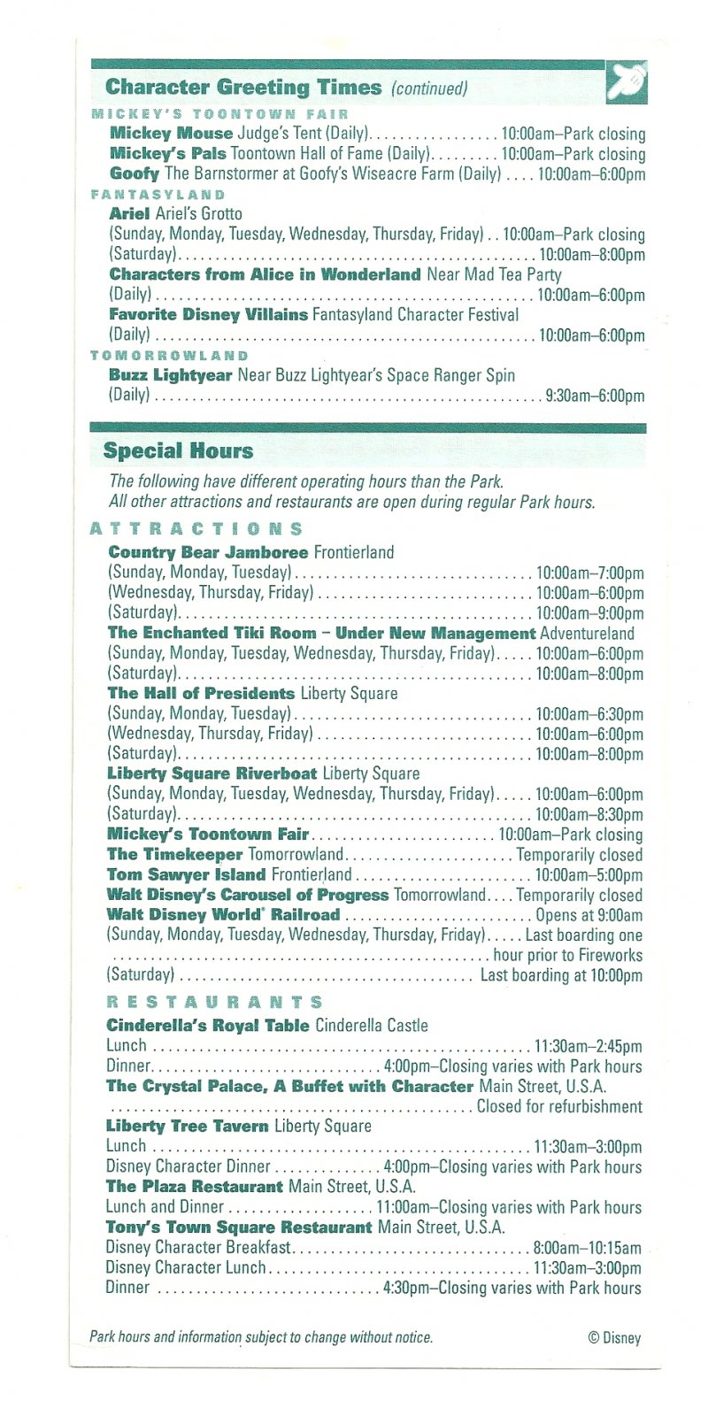 Image 1 of 2002 walt disney world Magic Kingdom Times guide Flyer Nov 10-16