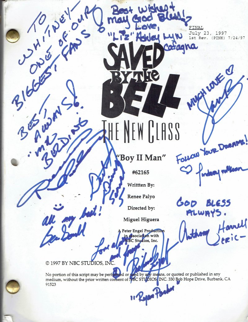 Image 0 of Cast Signed Autographed Saved By the bell the New class Script Boys II Men