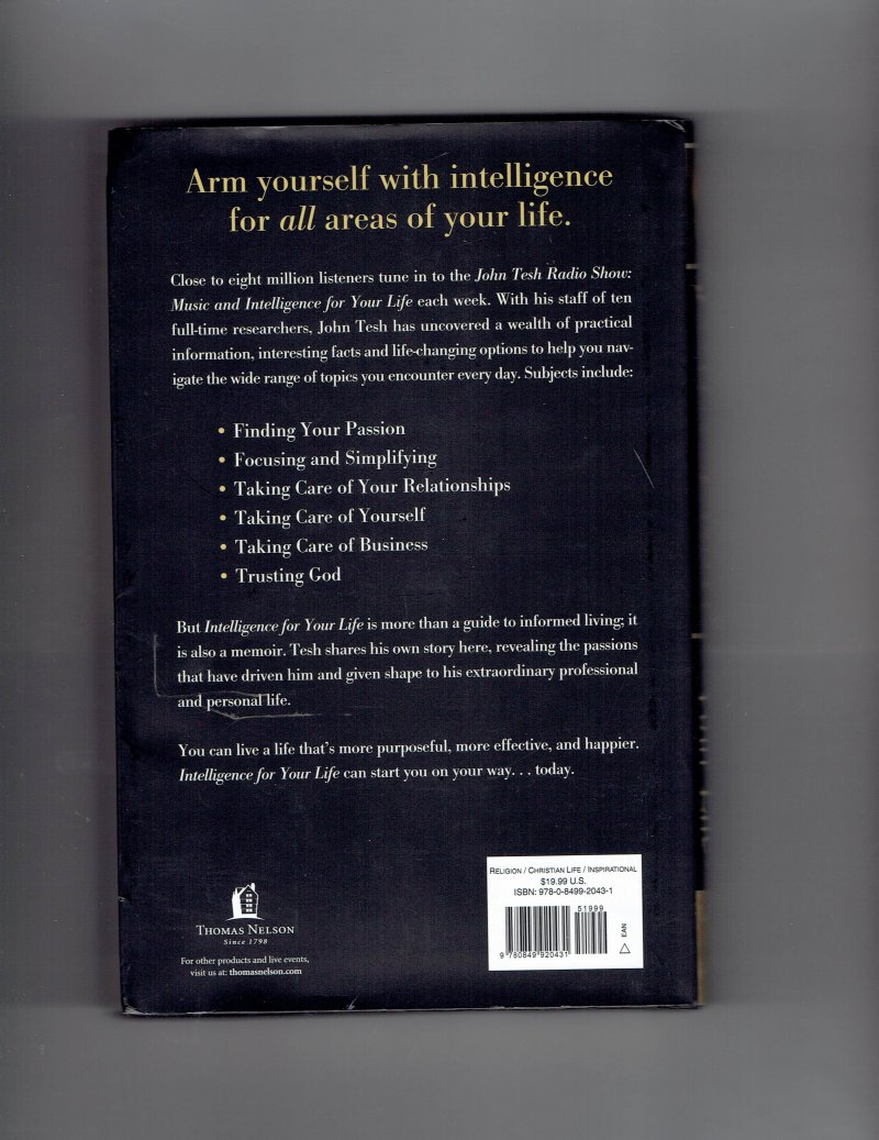 Image 2 of Intelligence for Your Life by John Tesh Signed Autographed HC Book