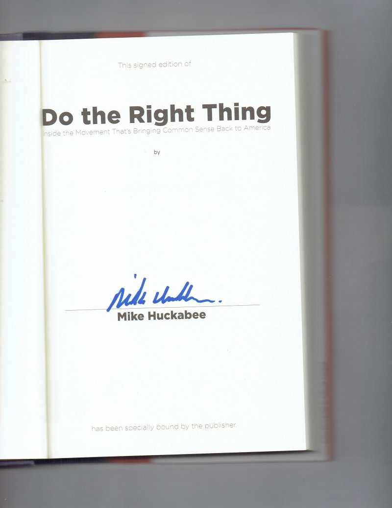 Image 0 of Do the Right Thing By Mike Huckabee Signed Book