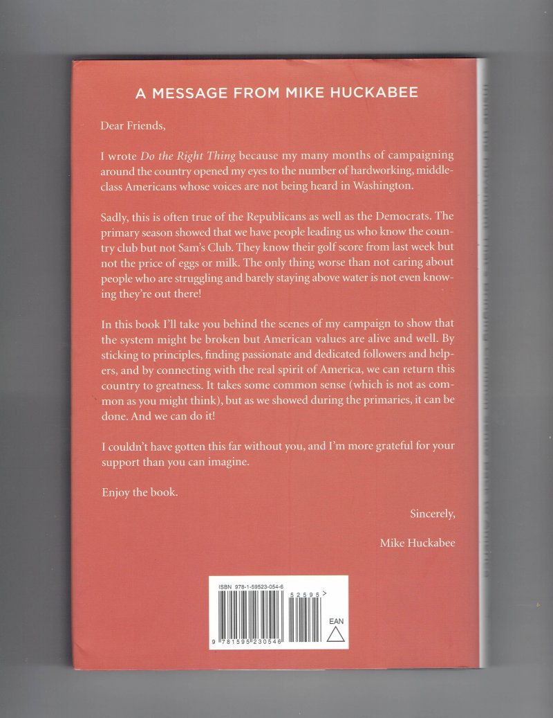 Image 2 of Do the Right Thing By Mike Huckabee Signed Book
