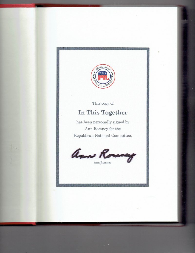 Image 0 of In This Together  My Story by Ann Romney (2015, Hardcover) signed autographed