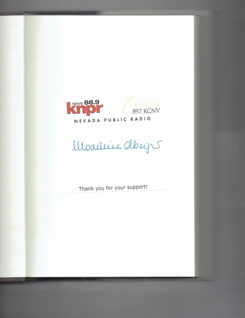 Image 0 of Memo to the President Elect By Madeline Albright Signed Autographed Book