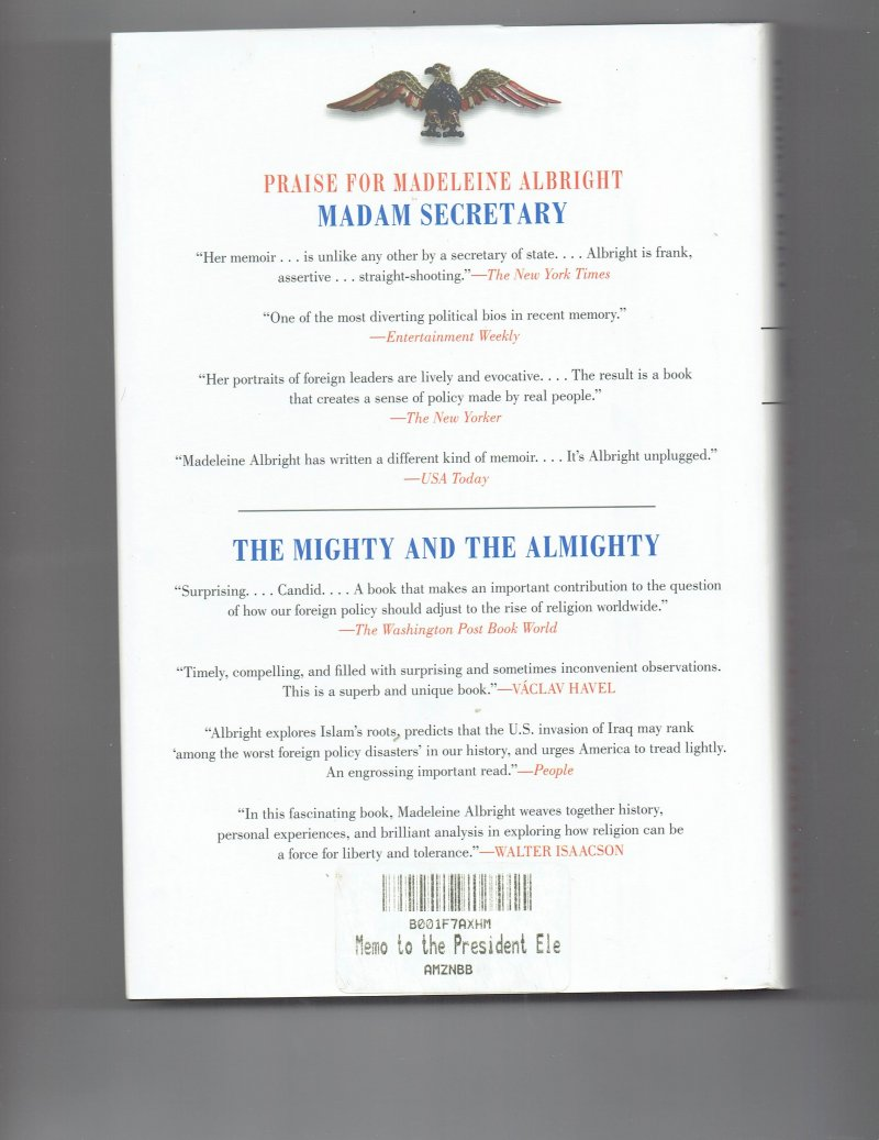 Image 2 of Memo to the President Elect By Madeline Albright Signed Autographed Book