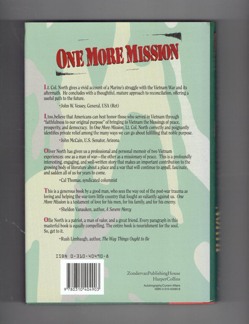 Image 2 of One More Mission  Oliver North Returns to Vietnam by Oliver North Signed HC