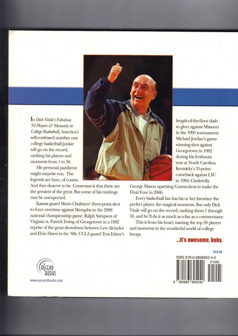 Image 2 of Dick Vitale's Fabulous 50 Players and Moments in College Basketball Signed Book