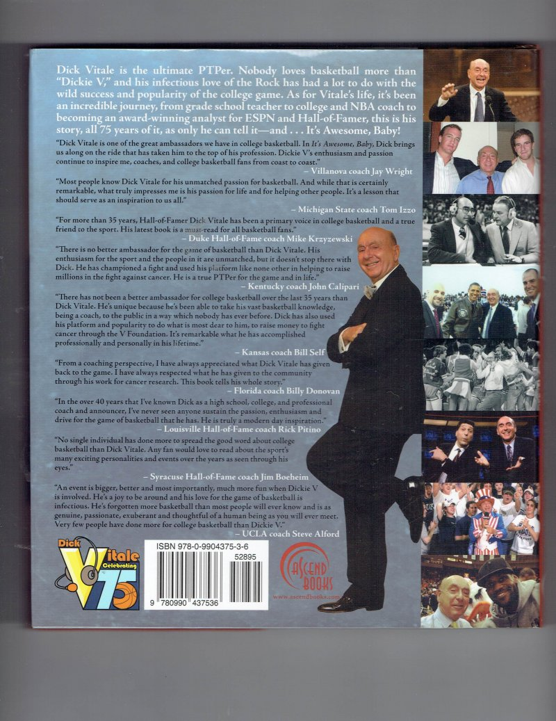 Image 2 of It's Awesome, Baby!  75 Years of Memories by Dick Vitale 2014 Hardcover Signed
