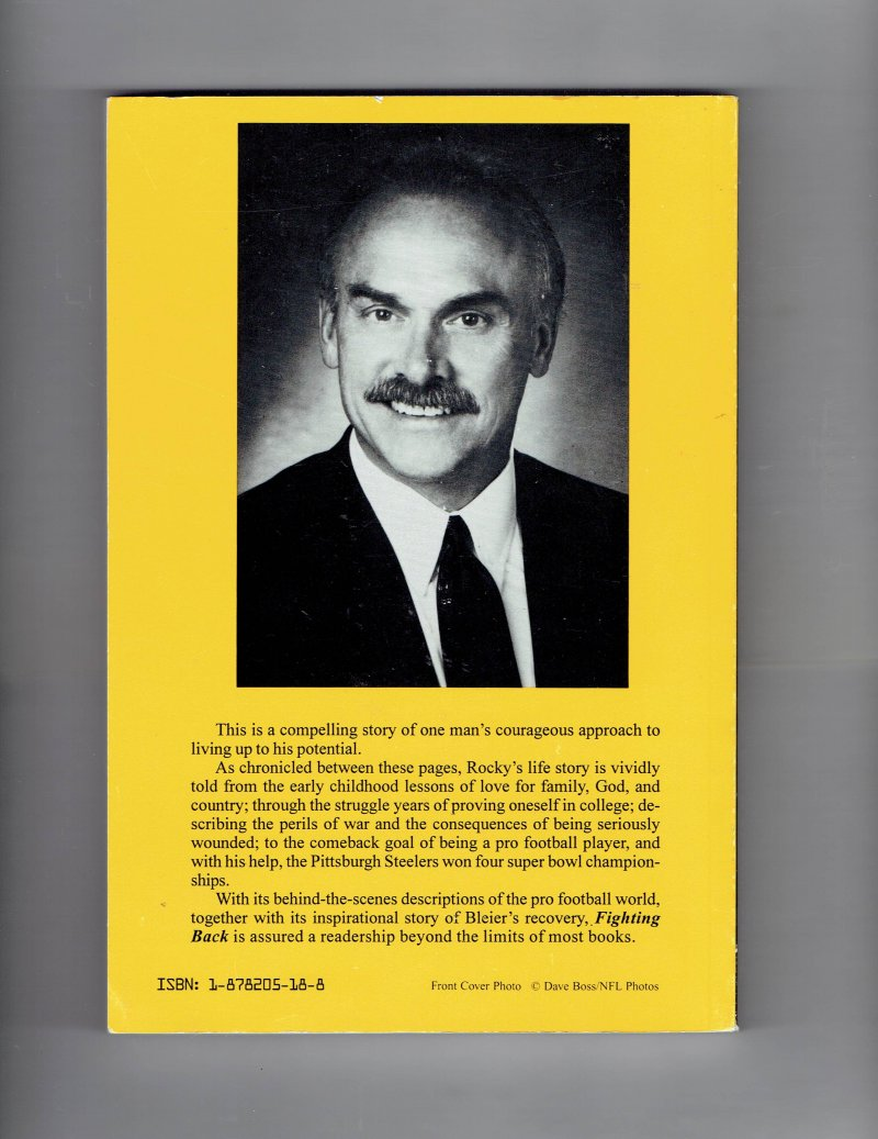 Image 2 of Fighting Back by Rocky Bleier (1980, Paperback) Signed 4x SB Champ Steelers