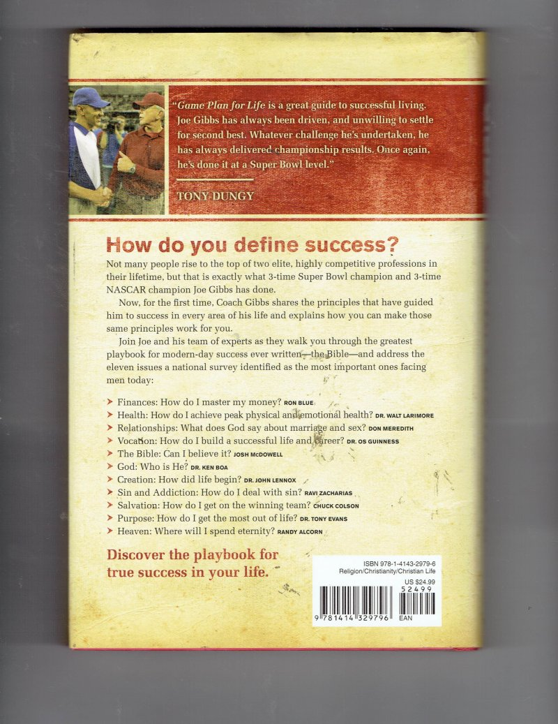 Image 2 of Game Plan for Life : Your Personal Playbook for Success by Joe Gibbs Signed HC