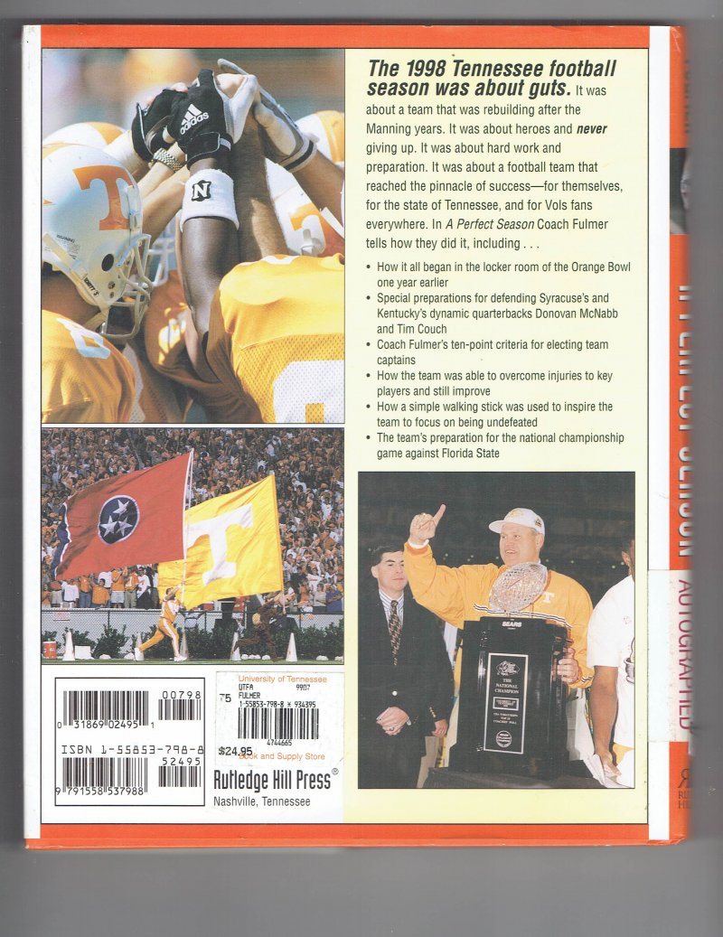 Image 2 of Perfect Season by Phillip Fulmer (1999, Hardcover) Signed book