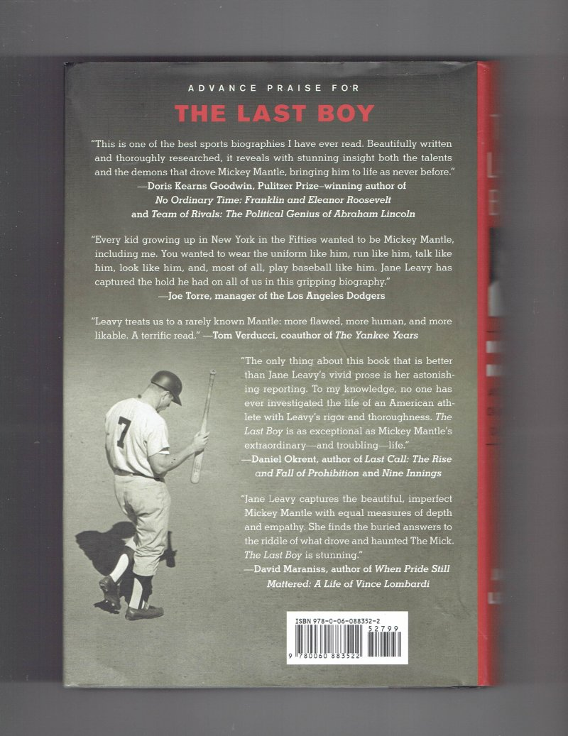 Image 2 of The Last Boy  Mickey Mantle by Jane Leavy (2010 Hardcover) Signed Autographed