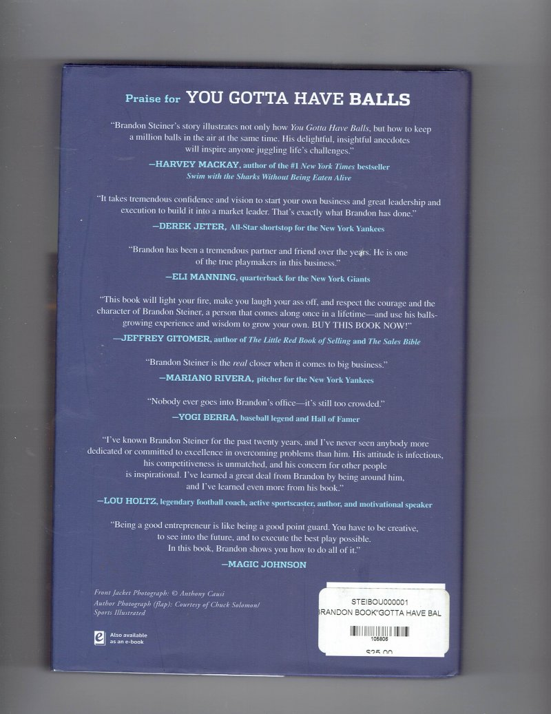 Image 2 of You Gotta Have Balls by Brandon Steiner (2012, Hardcover) signed autographed
