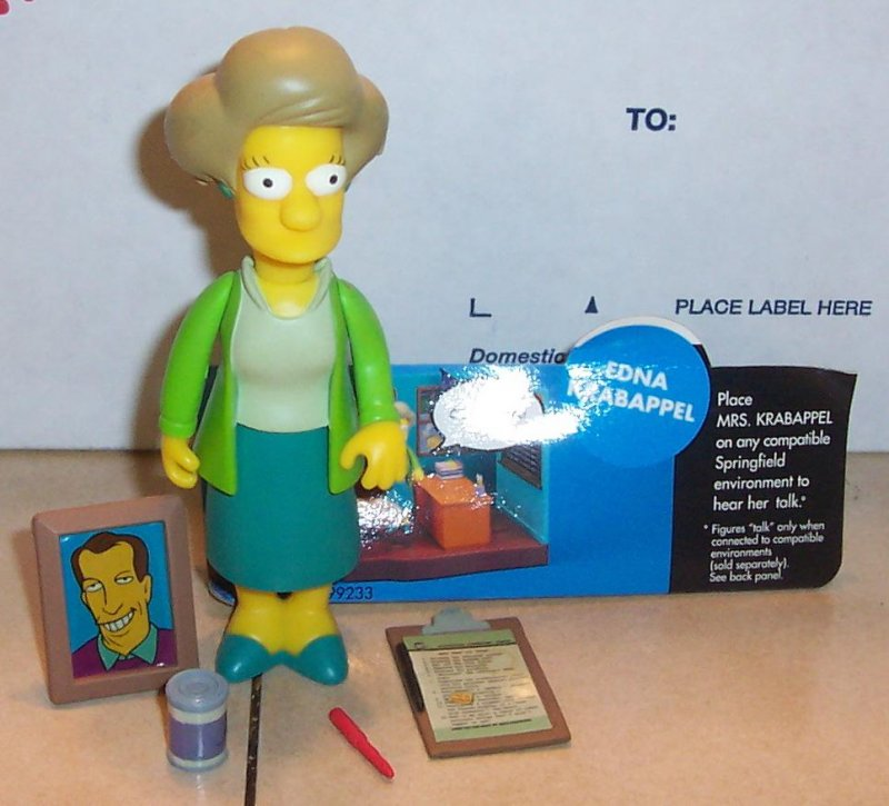 Image 0 of 2001 Playmates Simpsons EDNA KRABAPPEL Action Figure VHTF 100% Complete WOS