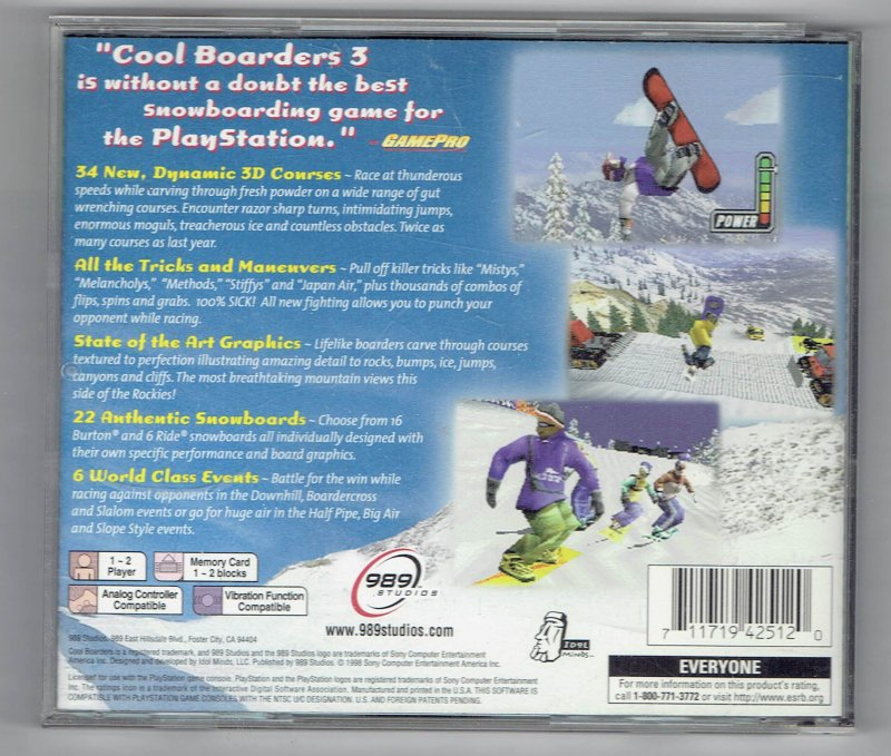Image 1 of Greatest Hits Cool boarders 3 Sony Video Game Sony PlayStation 1 1998